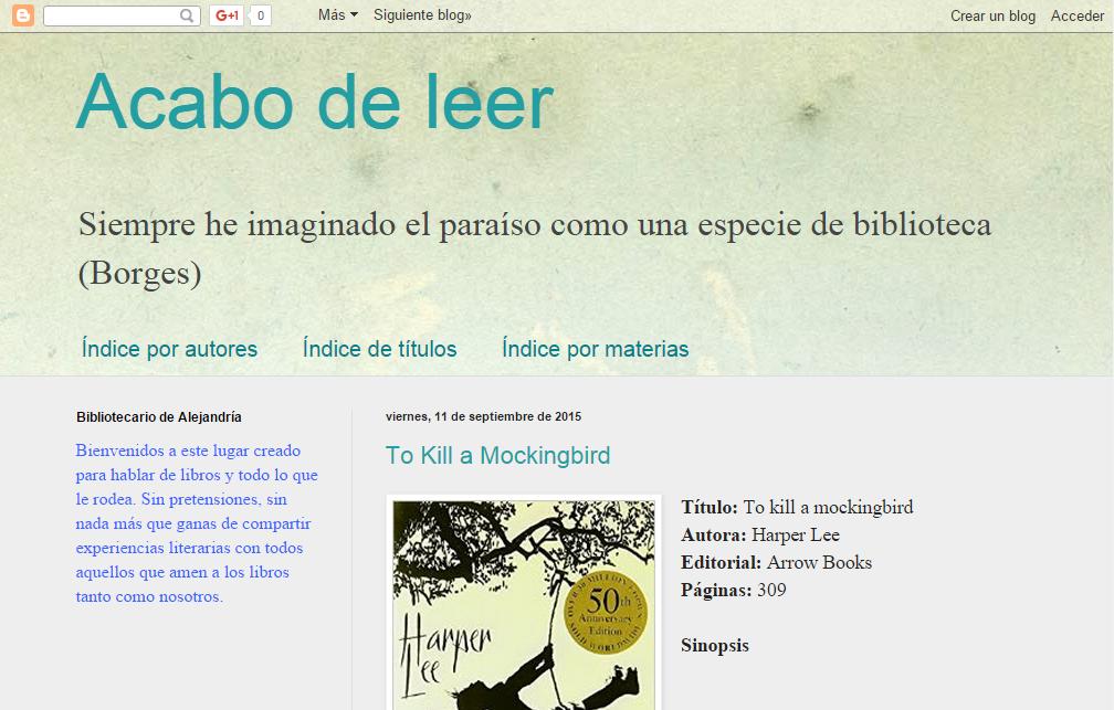 Blogs literarios: Acabo de leer