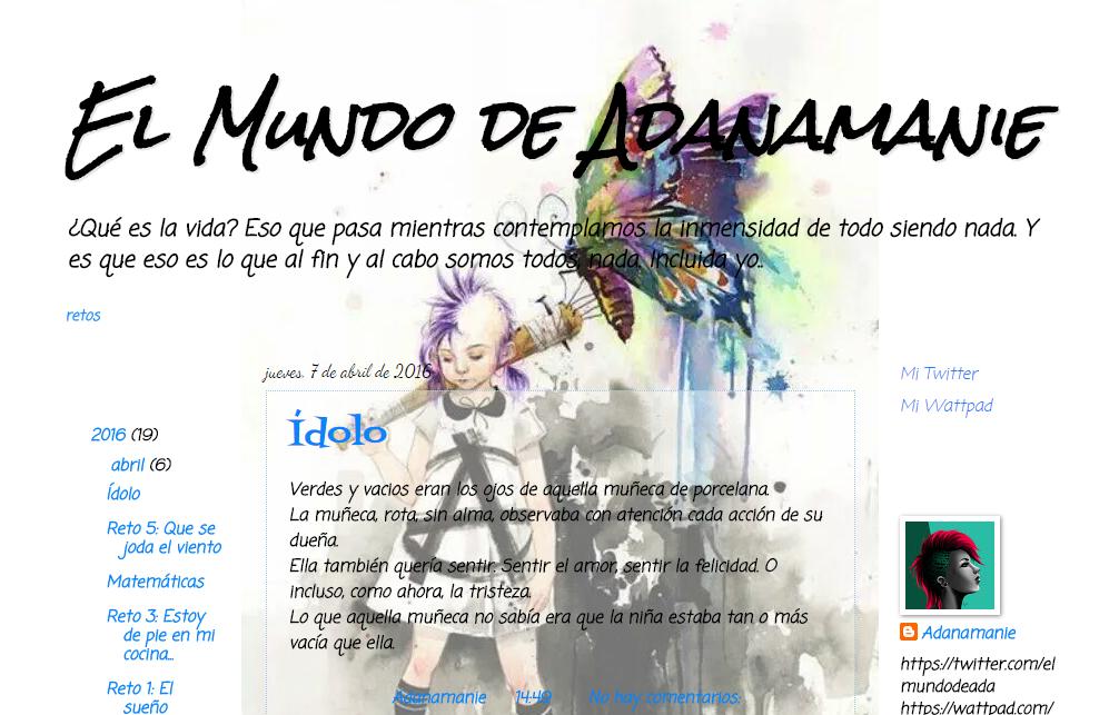 Blogs literarios: el mundo de adanamanie